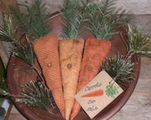 Set of 3 Primitive Rustic Country Easter Spring Time Bunny Rabbit Carrots for Sale Ornaments Ornies Bowl Fillers Tucks
