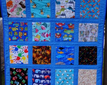 "Blue ""I Spy"" Quilt by Made Marion"