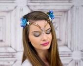 Elven Crown, Elven Headdress, Blue Elven Flower Crown with Silver Detail, Fantasy Headpiece, Headdress, Cosplay, Costume Headpiece, Fairy