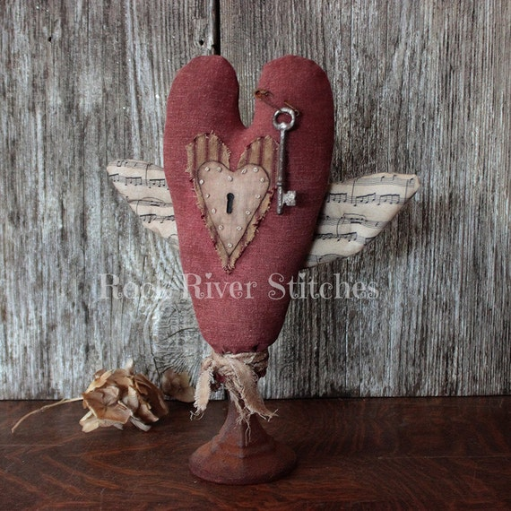 Primitive Valentine Heart Keyhole Make Do, Prim Valentine, Vintage Style, Folk Art Heart, Vintage Key