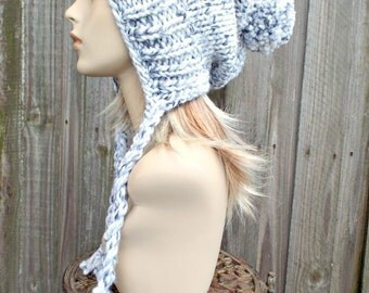 Marble Grey and White Slouchy Hat Womens Hat Ear Flap Hat Slouchy Beanie Pom Pom Hat - Charlotte Slouchy Winter Hat Knit Hat - READY TO SHIP