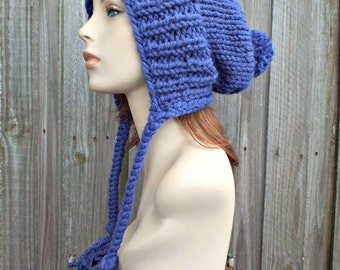 Cobalt Blue Pom Pom Beanie Slouchy Ear Flap Knit Hat - Charlotte - READY TO SHIP