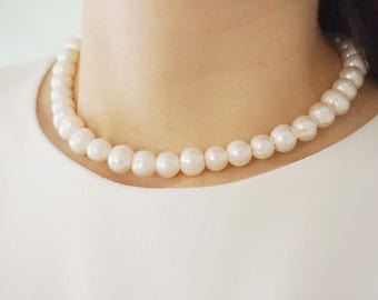 Pearl Necklace Simple Pearl Necklace Bridesmaid Jewelry Bridal Necklace Bridal Jewelry Wedding Necklace Wedding Jewelry Set Jewelry Gift Set
