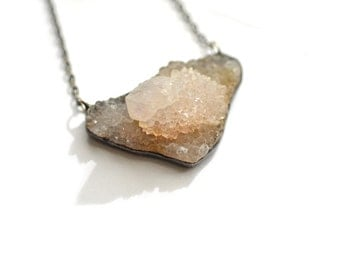White Spirit Quartz Shield Necklace. Cactus Quartz Necklace. Druzy Necklace. Druzy Jewelry. Quartz Cluster. Raw Quartz. Rough Quartz.