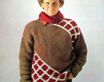 Sweater Knitting Pattern Men Sizes 38 / 40 FRENCH Chunky Bulky Weight Yarn Vintage Paper Original NOT a PDF