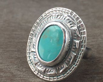 Turquoise ring - size 5 ring - kingman turquoise ring - turquoise jewelry - large stone ring - sterling silver ring - unique ring
