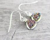 Rainbow Drusy Earrings, Sterling Silver Earrings, Silver Druzy Earrings, Wire Wrap Earrings, Geometric Drop Earrings, Druzy Dangle Earrings