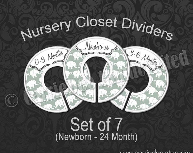 Muted Green Elephant Nursery Closet Dividers, Grey-Green Nursery, Baby Clothes Organizers, Baby Decor