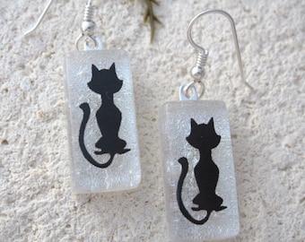 Cat  Earrings, Dangle Drop Earrings, Dichroic Jewelry, Glass Earrings, Fused Glass Jewelry, Silver White Earrings, Silhouette,, 110616e104