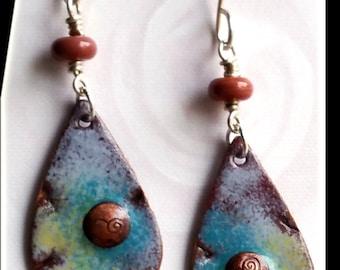 Enameled copper charm earrings