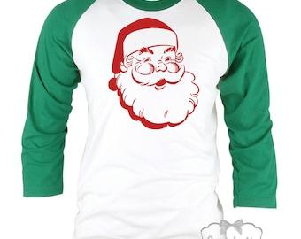 Santa Christmas Baseball Shirt - Retro Santa Family Shirts - Mens Christmas Shirt - Couple Adult Shirts - XS S M L Xl 2Xl 3XL Men Women
