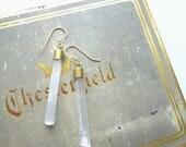 Selenite Stone earrings//Gypsum earrings//White & Gold/Minimalist earrings/Custom length//Broad Street Jewelry//Made in Chicago