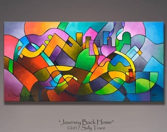 Abstract painting, geometric painting, original modern painting, mixed media acrylic painting, landscape, cityscape, 24x48 inches