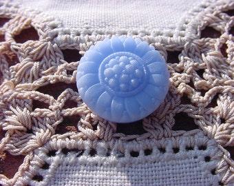 Sky Blue Floral Pattern Vintage Czech Glass Button