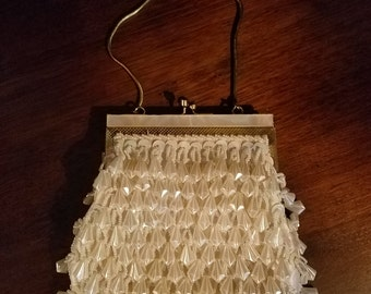 Vintage Handmade MOP White Beaded Evening Bag Purse 1950's 1960's, Wedding
