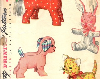 Simplicity 4915 Vintage 1950s Stuffed Toys Dog, Cat, Rabbit, and Horse