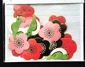 Cute Sticker Flakes - Japanese Stickers  - Flower - Bird - Bush Warbler - Cherry Blossoms - Plum Blossoms 5 Patterns 30 Stickers S238