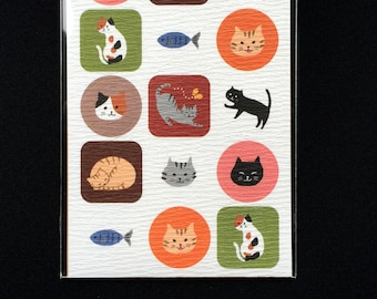 Cat  Stickers -  Japanese Stickers - Chiyogami Stickers -  Neko  Stickers S187