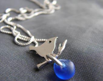 Little Bird sea glass necklace in cobalt blue / sea glass jewelry / tiny delicate sea glass necklace / beach glass jewelry / canada
