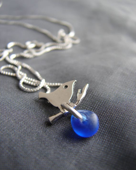 Little Bird sea glass necklace in cobalt blue