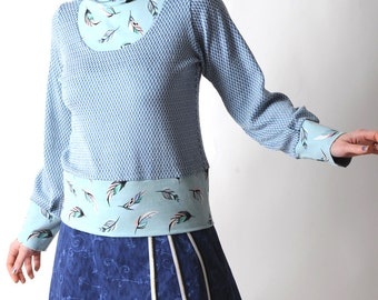 Blue jersey sweater, Womens sweater with feather print, Womens clothing, Blue and white womens sweatshirt, Womens sweaters, MALAM, UK 12