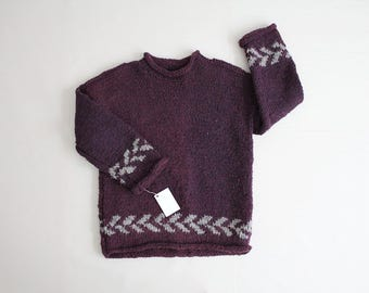 heavy wool sweater | wool pullover | purple wool sweater