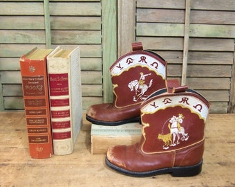Brown Sears child Cowboy boots Vintage western costume Kid Mancave halloween