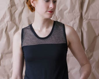 Sheer metallic stripes tank, racerback cut with low-high hem.  Ecofriendly bamboo jersey tank top with stripe contrast, made-to-order.