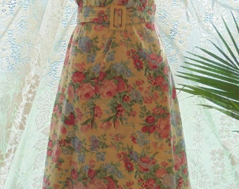 Floral summer  dress cotton  frock pink yellow   roses 70's does  50s large from vintage opulence on Etsy