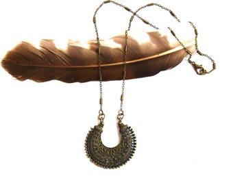 SALE Brass Mandala Necklace