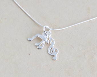 Sterling SIlver Music Charm Pendant Necklace - Gift For Musician Graduate