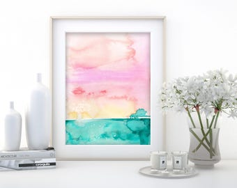 """Abstract Watercolor Painting, soft, Serene, Peaceful, Tranquil, Original art """"Ethereal Travels 9"""" Kathy Morton Stanion EBSQ"""