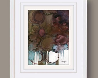 """Abstract Nature Watercolor Painting, Browns, Earth Tones art,  """"Nature Dance 2"""" Kathy Morton Stanion"""