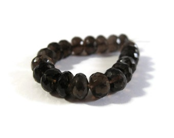 Twenty Smoky Quartz Beads, 20 Large Natural Dark Smoky Quartz Faceted Rondelle Beads, 6mm - 7mm, Jewelry Supplies (L-Sq9)
