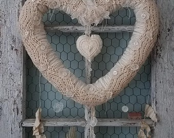 Vintage Linen, Button, and Lace Heart Wreath for Shabby Chic Wedding, Shower, Engagement, Anniversary, Nursery, & Farmhouse Style Home Decor