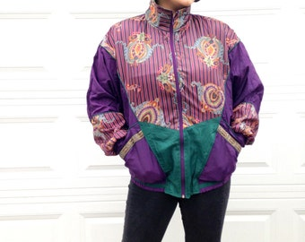1990's Women's Large Windbreaker in Green and Violet / 90s style fashion . ugly . xl plus size parachute jacket coat . mc hammer