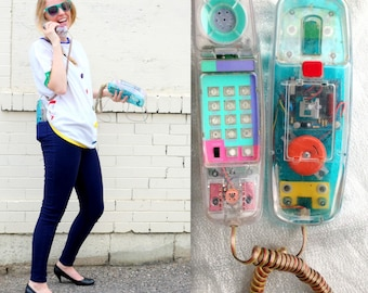 1980's See Through Landline Phone / Punky Brewster Full House Telephone / Neon Retro Cord Wall Phone House Telephone Gift for Teenager Teen