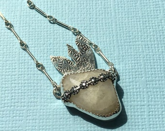 Immaculate Heart of Mary Triumph of Immaculate Heart Necklace Beach Stone Sterling Silver