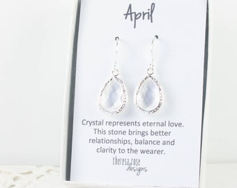 April Birthstone Silver Teardrop Earrings, Crystal Silver Dangle Earrings, April Birthstone Jewelry, Silver Earrings, Bridal Earrings