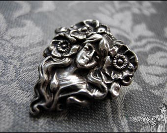 Antique Art Nouveau Sterling Flower Goddess Brooch - Dreaming amidst the Poppies