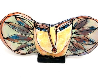 "Clay Owl sculpture / Owl Figurine, whimsical owl art, colorful ceramic owl art,""Owl Holding the Sun's Rays"", 10"" wide"