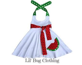 Watermelon Girls Dress, Pageant Girl Watermelon Dress, Summer Girl Watermelon Dress, Comfy Knit Watermelon Dress, White Knit Girl Dress