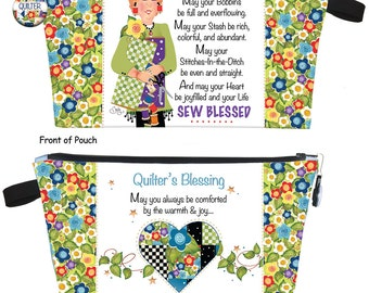 Quilter's Blessing Zipper Pouch KIT - Printed Pouch Body
