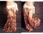 Lace Belly Dance Harem Pants, 70s flower lace, cut out leg. exotic Turkish floorwork, tribal fusion, Gypsy dance costume, orange brown