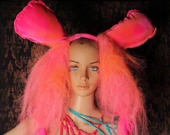 Bunny Ear Wig Headband, pink puffy hair, huge bunny ears, cosplay headband, Halloween Costume, Gothic hairpiece, Post Apocalyptic, anime