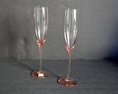 Mikasa Crystal Elegance Champagne Flutes {Pink Rose Wedding Toast Glasses Set of 2 Gift Bride Groom Drinkware Barware Cocktail Bar Cart}