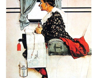 Airplane Trip, Ice Cream Carrier - Norman Rockwell - Saturday Evening Post Cover - Vintage Book Page - 10 x 14