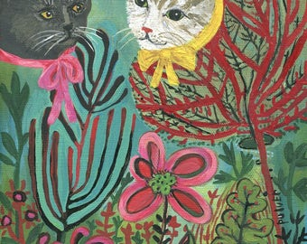 Original Botanical Cat Head Painting - Abstract Cats, Plants and Flowers Folk Art - Quirky Strange Outsider Artwork