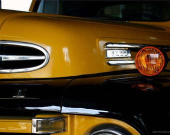 Classic Car Closeup Photo Art - 1948 Ford Pickup Truck Photo - Old Car Wall Art - Yellow Black Silver Automobile - Ford Grille Photography