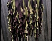 Faery Spiral Over Skirt in Brown and Green, Size XL - XXL - ready to Ship - Fairy Steampunk Belly Dance Tattered Festival Costume Forest Fae